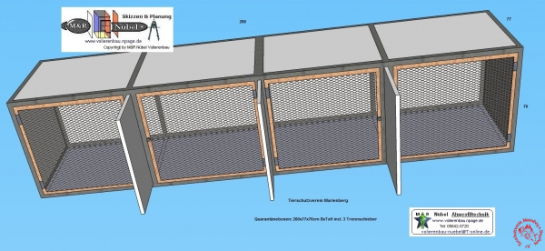 Tierschutzverein Marienberg Quarantänebox 260x77x70cm